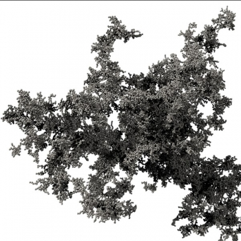 Fig 2 A fractal dust aggregate of about 03 mm in diameter that was formed in a computer simulation