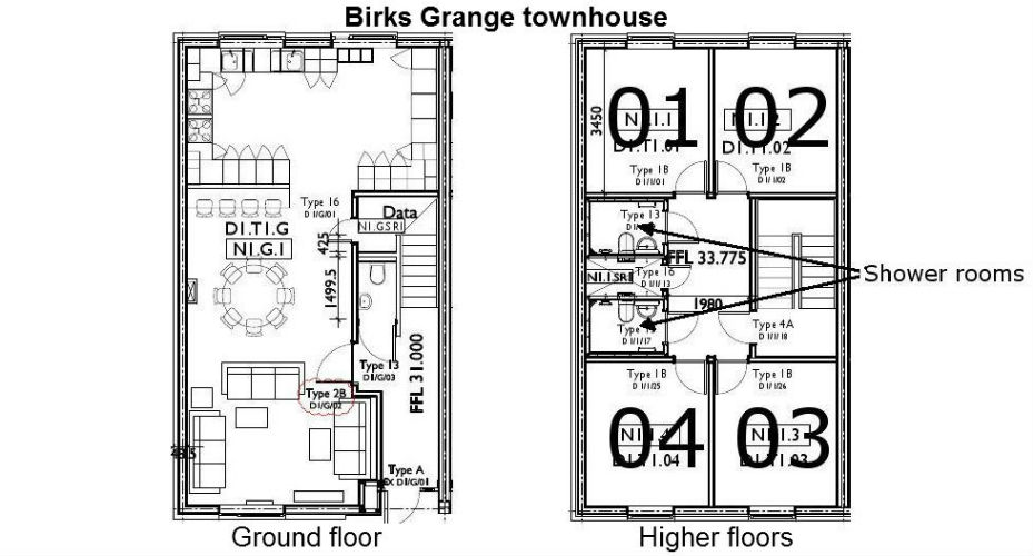 Floorplan for townhouses