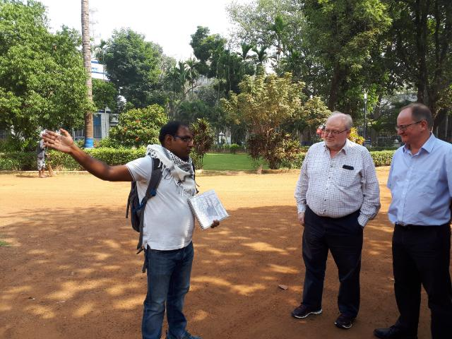 Dr Tathagata Neogi from Heritage Walk Calcutta with University of Exeter's Professor Sir Steve Smith and Professor Andrew Thorpe