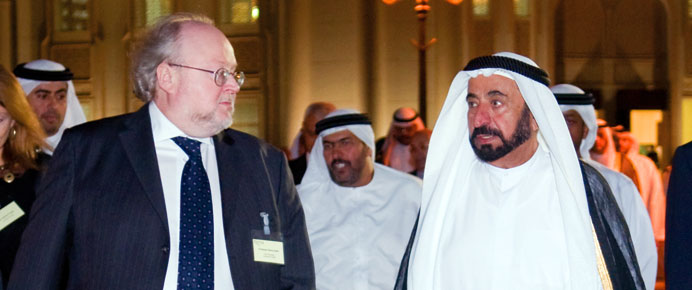 VC Steve Smith with Dr Sheik Sultan Bin  Mohamed Al Quasimi