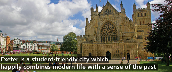 Exeter is a student-friendly city which happily combines modern life with a sense of the past.