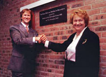 Biocatalysis Centre opening - Professor Sir Christopher Evans, OBE and Professor Jenny Littlechild