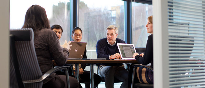 Students in the University of Exeter Business School MBA suite