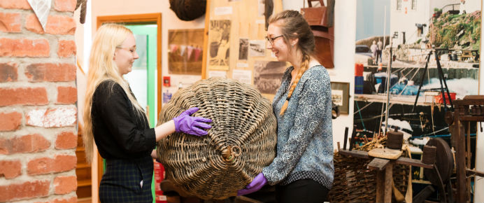 Pathways to Arts, Culture and Heritage interns at Helston Museum
