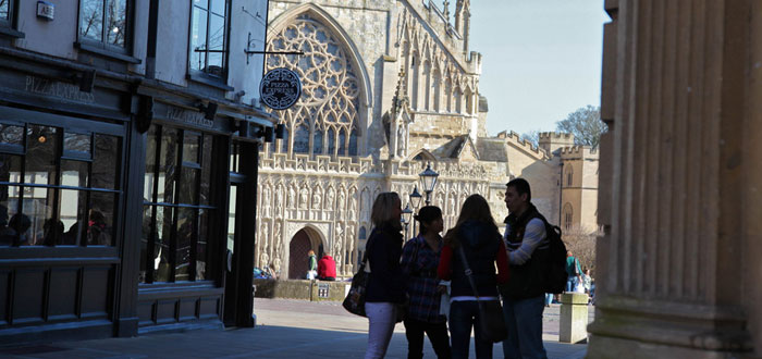 Students in front of Exeter Cathedral