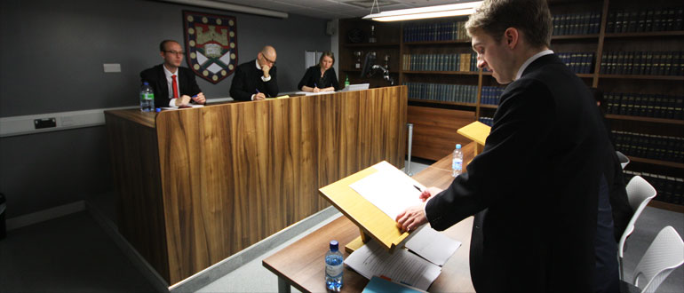 Students in mock court