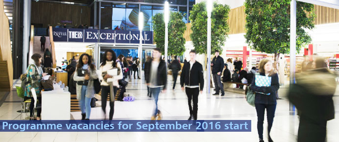 Programme vacancies for September 2016 start