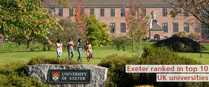 Exeter ranked 10th in the UK