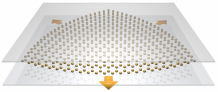 Straining a honeycomb metasurface generates an artificial magnetic field for light which can be tuned by embedding the metasurface inside a cavity waveguide